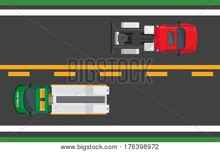 City traffic concept. Tractor truck and wrecker goes on opposite road lanes top view flat vector. Urban highway illustration for transport concepts and logistics infographics design