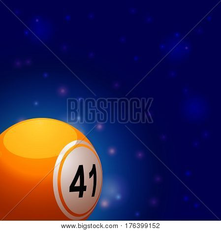 3D Illustration of Yellow Bingo Ball Over Blue Glowing Space Background