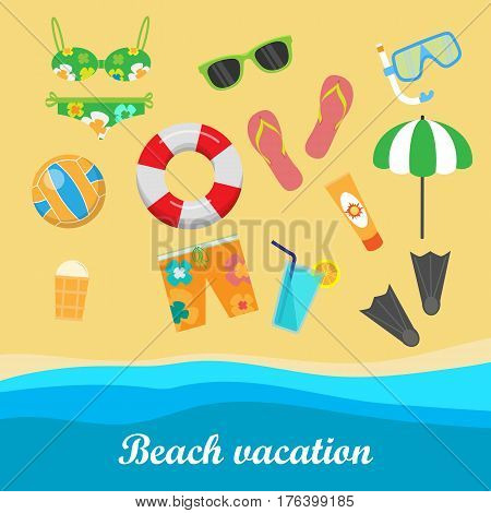 Beach vacation vector concept. Leisure on seacoast. Coastline with stuff for summer resting and entertainment on sand. For travel company ad, vacation concept, printed materials, web design