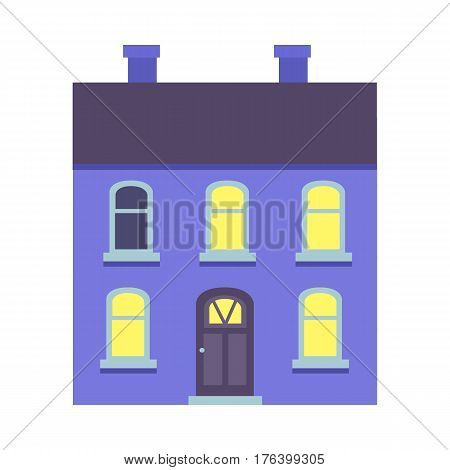 Vector illustration of isolated cartoon blue house with two floors on white. Colourful xmas building with dark roof and two chimneys and some yellow lighted windows. Architecture in city in flat