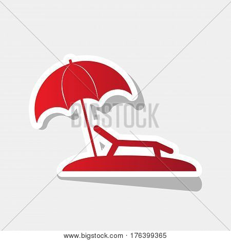 Tropical resort beach. Sunbed Chair sign. Vector. New year reddish icon with outside stroke and gray shadow on light gray background.