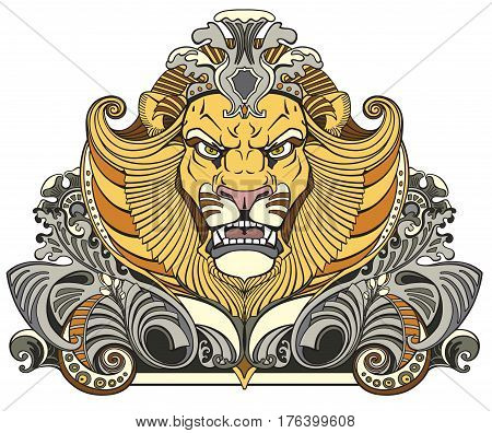 head of lion king  . Front view  decor vector illustration