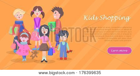 Kids shopping banner. Teenagers make purchases with cartoon flat vector illustration. Kid make purchases on sale andbuying gifts on holiday