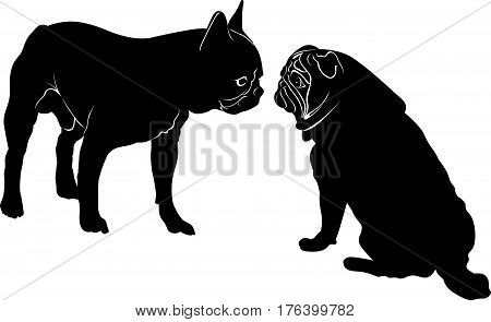Dog Bulldog. The dog breed bulldog.Dog Bulldog black silhouette vector isolated on white background. Dog pug. Meeting two dogs of a bulldog and a pug