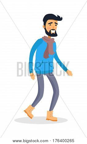 Caucasian young running man with smile on face. Vector portrait of isolated male person dressed in blue jacket, grey trousers, warm shoes and scarf. Full length of a smiling athlete on white