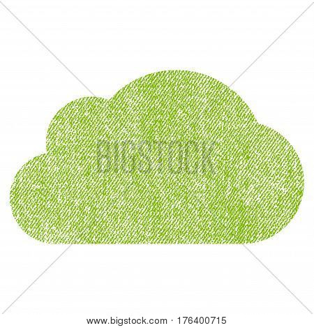 Cloud vector textured icon for overlay watermark stamps. Fabric light green vectorized texture. Symbol with scratched design. Rubber seal stamp with fiber textile structure.