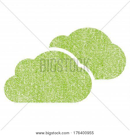 Clouds vector textured icon for overlay watermark stamps. Fabric light green vectorized texture. Symbol with dust design. Rubber seal stamp with fiber textile structure.
