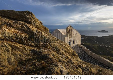 Church in Chora village on Serifos island in Greece.