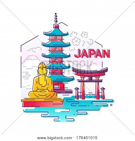 Japan - modern vector line travel illustration. Have a trip, enjoy your japanese vacation. Be on a safe and exciting journey. Landmark image. An unusual composition with buddha, temple, mountain, sea, flower, torii in the sky background