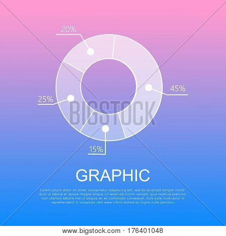 Graphic isolated circular diagram with percentages. Vector round infographic diagram with text beneath it. Visual image results shown in round graph. Business circular connected chart concept.