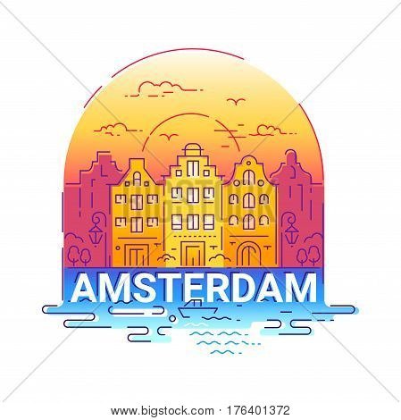 Amsterdam - modern vector line travel illustration. Have a trip, enjoy your vacation. Be on a safe and exciting journey. Landmark image. An unusual composition with a city, building, river, boat, sunset, bird, cloud, lamp in the sky background