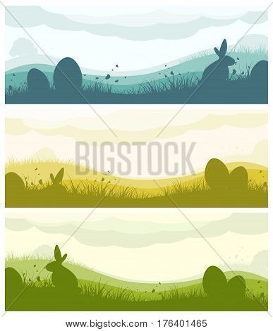 Set of Easter banners with silhouette of eggs bunny field clouds grass and butterflies