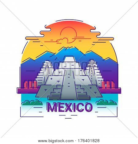 Mexico - modern vector line arch illustration. Have a trip, enjoy your mexican vacation. Be on a safe and exciting journey. Landmark image. An unusual composition with the Maya temple, ancient shrine, mountain, sun, cloud in the sky background