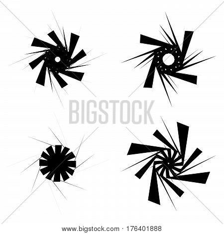Geometric Circular Shapes. Circular Textured  Black And White Elements