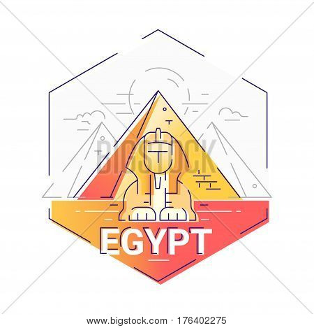 Egypt - modern vector line travel illustration. Have a trip, enjoy your egyptian vacation. Be on a safe and exciting journey. Landmark image. Sphinx, pyramid, cloud, sun, desert