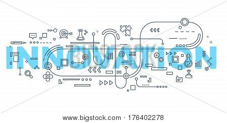 Vector Creative Illustration Of Innovation Word Lettering Typography With Line Icons On White Backgr