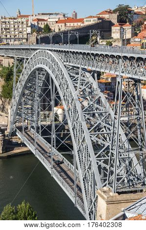 The Dom Luis I Bridge is a double-decked metal arch bridge that spans the Douro River between the cities of Porto and Vila Nova de Gaia in Portugal
