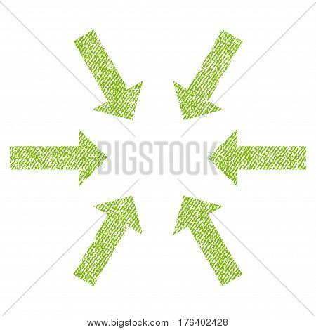 Compact Arrows vector textured icon for overlay watermark stamps. Fabric light green vectorized texture. Symbol with dust design. Rubber seal stamp with fiber textile structure.