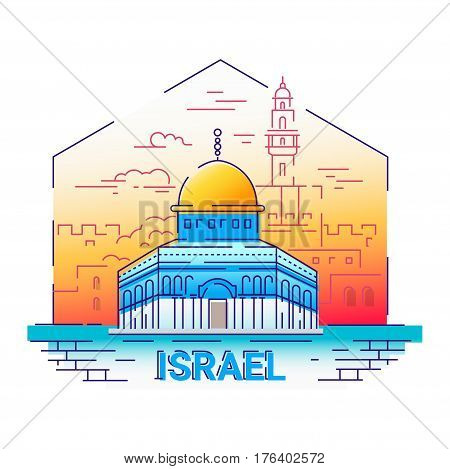 Israel - modern vector line travel illustration. Have a trip, enjoy your vacation. Be on a safe and exciting journey. Landmark image. An unusual composition with the Al-Aqsa Mosque, temple, tower, city, cloud in the sky background