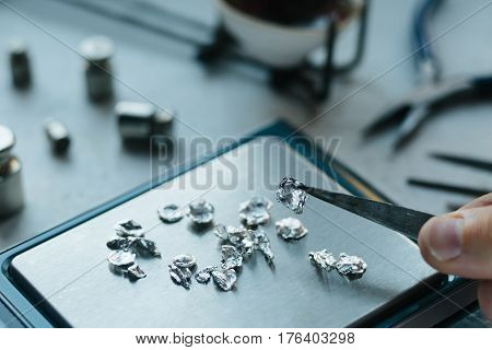 Jewelry Tools. Jewellery. Goldsmith Workplace, Workspace On Light Background. Hand Craft. Workshop.