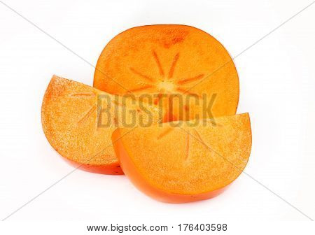 Persimmon Sharon close up isolated on white background