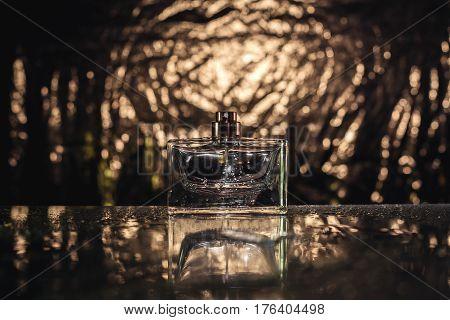 stylish bottle of Female perfume in gold background
