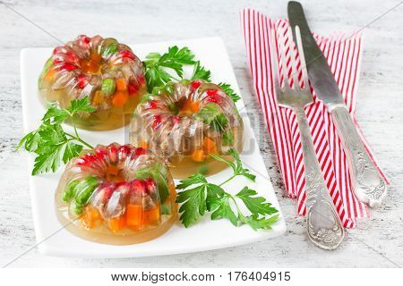 Jellied meat aspic galantine with vegetables and parsley selective focus