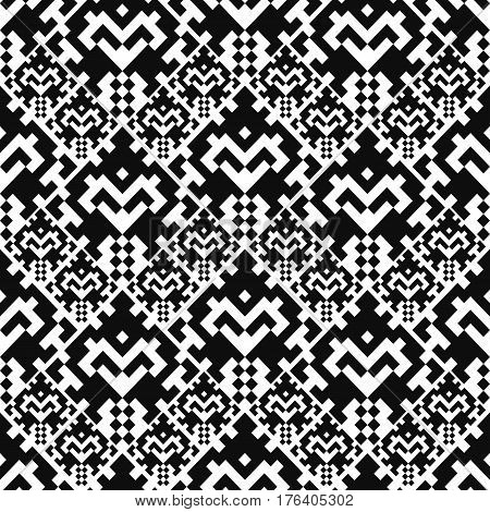 Seamless pattern with american indian style. Embroidery plaid. Dotted navajo background. Textile geo print. Tribal swatch.