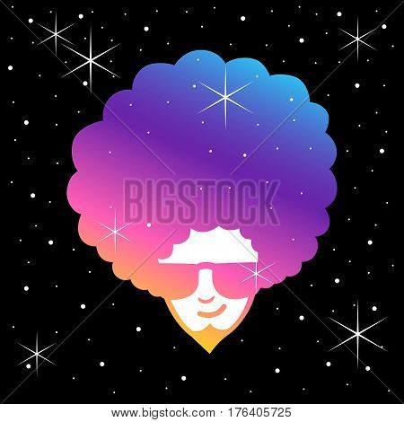 Simple illustration of man face with frizzy hair