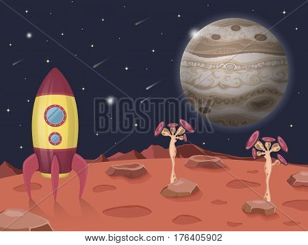 Space illustration with rocket on a background of the Jupiter planet, open cosmos, lots of stars and unusual plants.