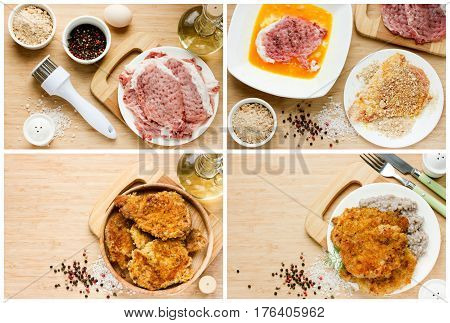Meat pork chop in bread crumbs recipe step by step