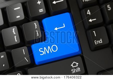 SMO - Social Media Optimization - Written on a Large Blue Keypad of a Modern Laptop Keyboard. 3D.