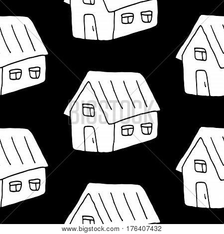 Doodle sweet pattern with hand drawn houses. Trendy vector black and white sweet pattern. Seamless monochrome sweet pattern for fabric, wallpapers, wrapping paper, cards and web backgrounds.