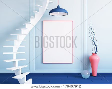 Interior mockup illustration of blue room with spiral staircase, 3d render, wall with blank board