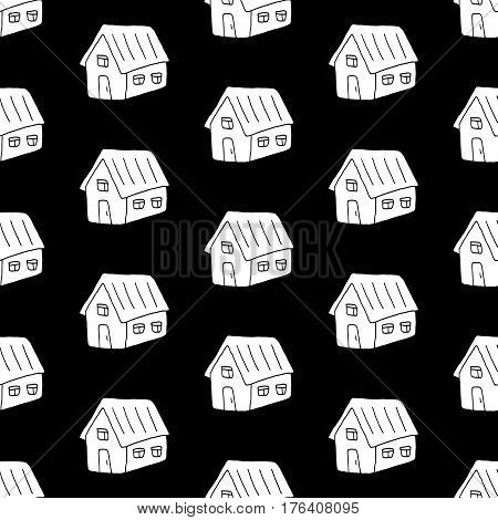 Lovely doodle pattern with hand drawn houses. Cute vector black and white doodle pattern. Seamless monochrome doodle pattern for fabric, wallpapers, wrapping paper, cards and web backgrounds.