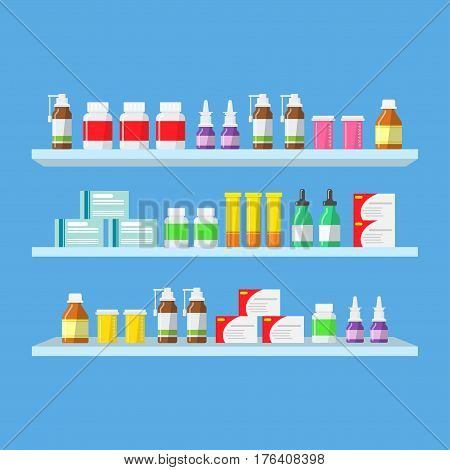 Medical tablets, pills, medical bottles on shelves. Shelves with medicines in a pharmacy in a flat style. Purchase and sale of medicines.