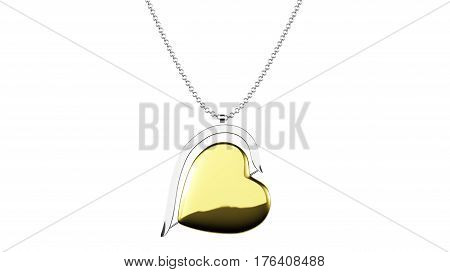 Heart shaped golden pendant on a silver chain 3D illustration render isolated on a white background top close view