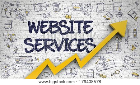 Website Services - Line Style Illustration with Hand Drawn Elements. Website Services - Success Concept with Hand Drawn Icons Around on Brick Wall Background.