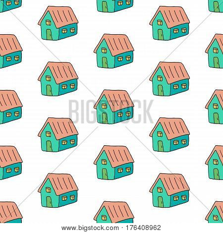 Trendy cute pattern with hand drawn houses. Colorful vector doodle cute pattern. Cheerful seamless cute pattern for fabric, wallpapers, wrapping paper, cards and web backgrounds.