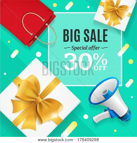 Big Sale Banner Card or Poster Trendy Mint Marketing Color. Vector illustration
