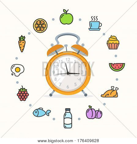 Every Day Raw Food Concept Healthy Diet with Alarm Clock and Icons. Vector illustration