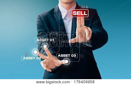 Business Man Hand Sign About Sell Asset