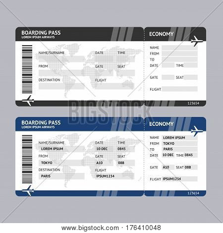 Airline Ticket Boarding Pass Blank Template and with Data for Travel Tourism. Vector illustration