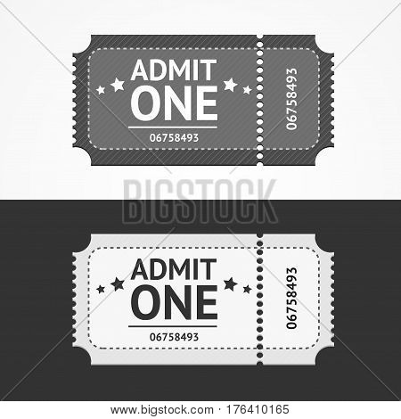 Ticket Icon Blank Admit Set Old Vintage Design Style for Entertainment, Cinema, Party and Show. Vector illustration