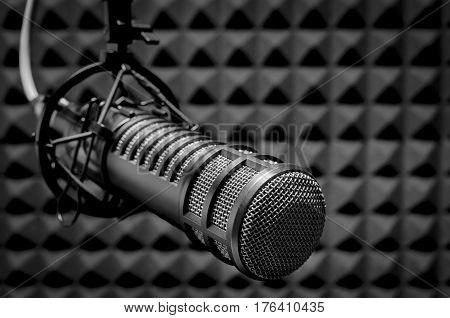 For radio stations: professional microphone in radio studios