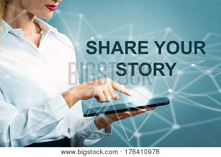 Share Your Story Text With Business Woman