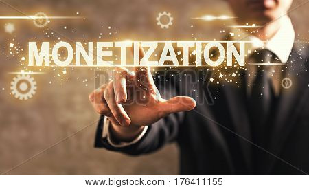 Monetization Text With Businessman