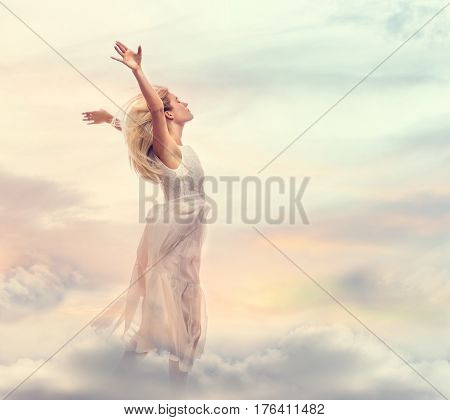 Beautiful Woman Standing With Arms Wide Open