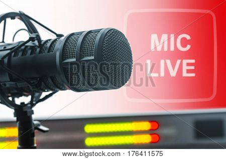 For radio stations: professional microphone in radio studios