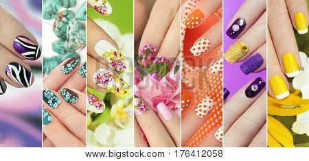 Collection of trendy colorful various manicure with design on nails with glitter, rhinestones, real flowers, stickers, turquoise and yellow French manicure.